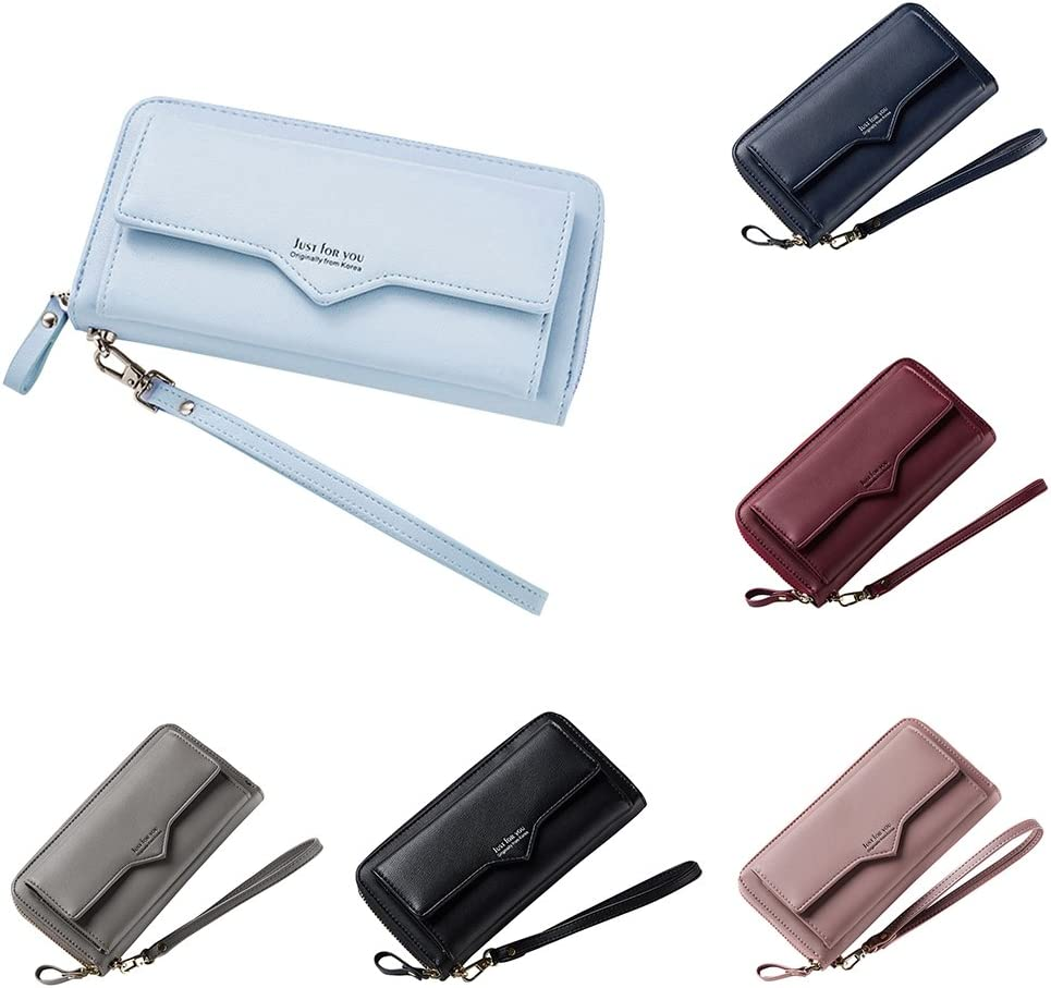 Finance Plan Women Solid Color Faux Leather Purse,Card Coin Holder,Long Buckle Zipper Wallet Gifts