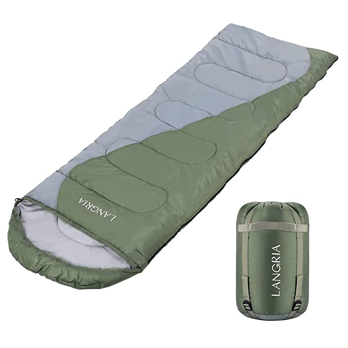 LANGRIA Envelope Sleeping Bag with Compression Sack, Compact & Lightweight Sleeping Bags for 3 Season Indoor/Outdoor Sleepover Camping Backpacking Hiking Festival (Green)