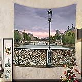 Keshia Dwete Custom tapestry love padlocks on the bridge pont des arts across river seine in paris france