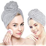 Laluztop Organic Bamboo Hair Towel Hair Drying Towel Turban Wrap with Button, Anti Frizz Absorbent & Soft Bath Cap for…