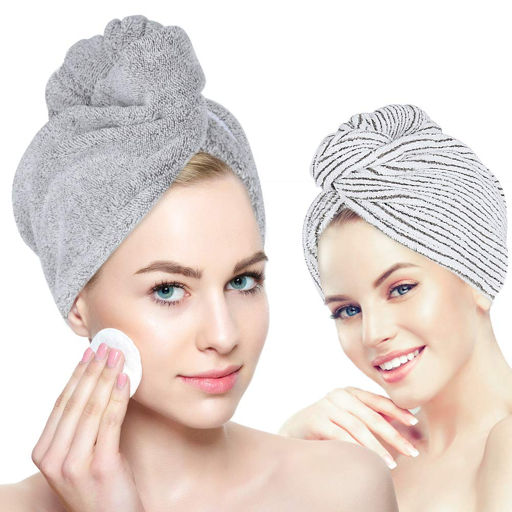 Organic Bamboo Hair Towel - Laluztop Hair Drying Towel Turban Wrap with Button, Anti Frizz Absorbent & Soft Bath Cap for Curly, Long Thick Hair(2 PACK) by Laluztop