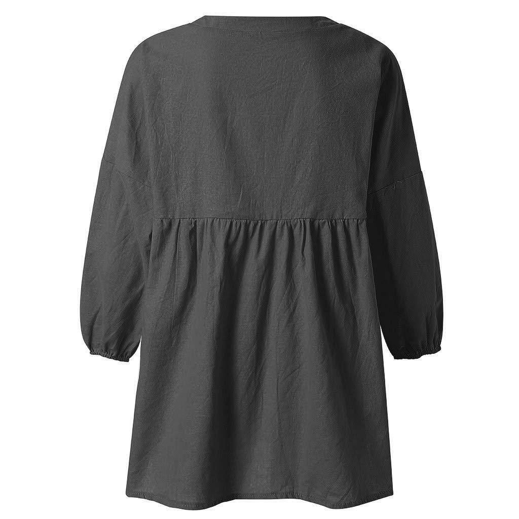 HIKO23 Blouse for Women Loose 3//4 Sleeve Casual T-Shirt Deep V-Neck Tunic Tops Solid Pullover Fashion Tees