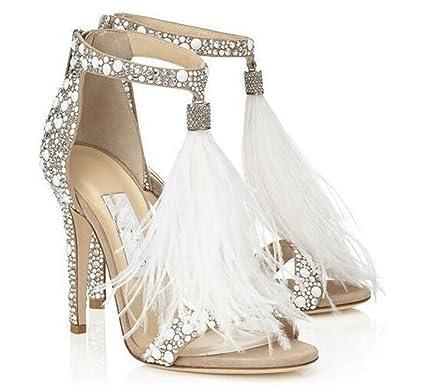 Kitzen Sandalias De Tacón Alto De Mujer Zapatos De Novia para La Novia Zapatos De Vestir