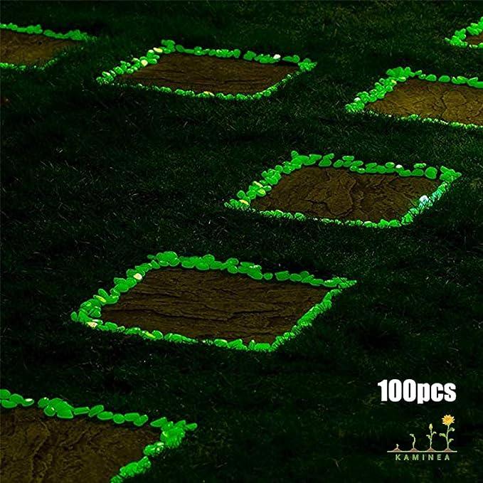 100 Piedras Verde Fluorescentes | Gravilla Luminosa para Decoración Interior y Exterior | Accesorios para Estanques, Jardines, Acuarios, Peceras, ...