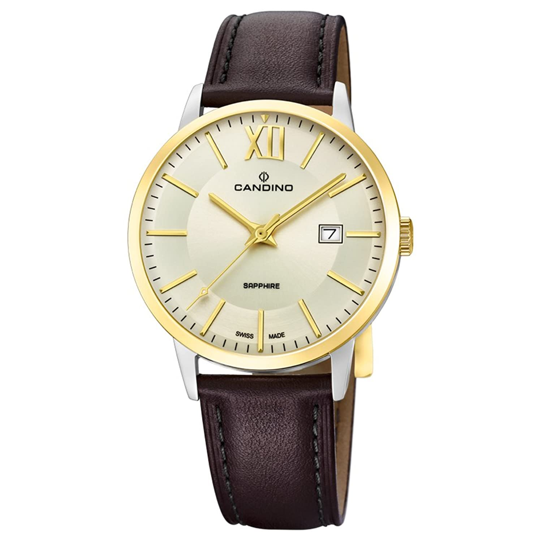 Candino Armbanduhr fÜr Herren Saphir analog Elegant mit Leder-Armband braun Quarz-Uhr UC4619-1