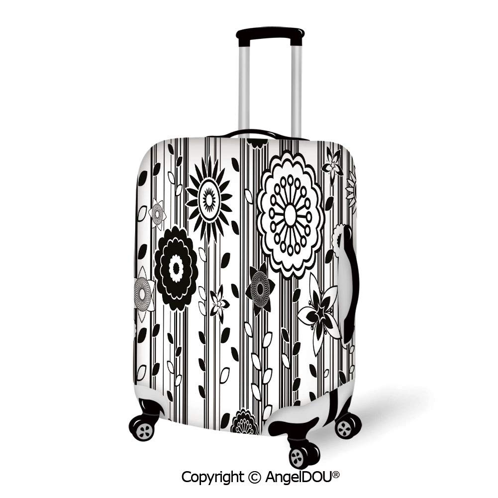 AngelDOU Printed Thicker Travel Suitcase Protective Cover Winter Decorations Panoramic Winter Scenery on Mountain with Sunny Weather and Trees Photo White Blue Luggage Case Travel Accessories.