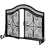 Fireplace Screen with Doors Flat Guard Fire Screens Outdoor Large Metal Decorative Mesh Solid Baby Safety Proof Fench Wood Burning Stove Accessories Wrought Iron Fire Place Panels Cover Black from Amagabeli