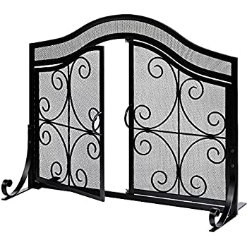 Buy Amagabeli Fireplace Screen with Doors Large Flat Guard Fire Screens Outdoor Metal Decorative Mesh Solid Baby Safe Proof Wrought Iron Fire Place Panels Wood Burning Stove Accessories Black: Home & Kitchen - Amazon.com ? FREE DELIVERY possible on eligible purchases