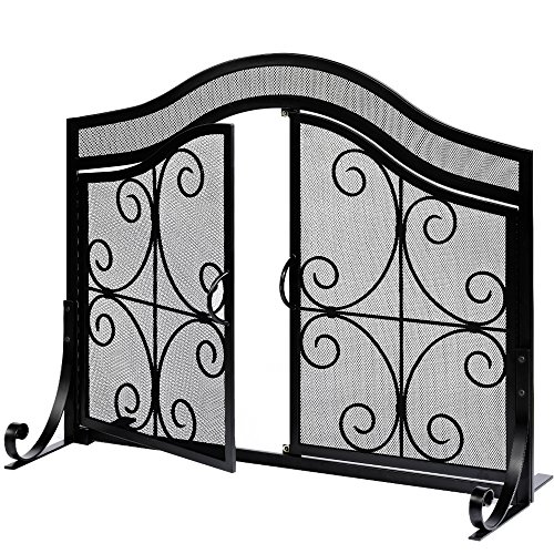 - Amagabeli Fireplace Screen with Doors Large Flat Guard Fire Screens Outdoor Metal Decorative Mesh Solid Baby Safe Proof Wrought Iron Fire Place Panels Wood Burning Stove Accessories Black
