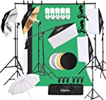 Kshioe Photography Lighting Kit, Umbrella Softbox Set Continuous Lighting with 6.5ftx9.8ft