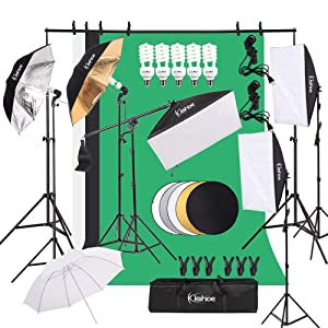 Kshioe Photography Lighting Kit, Umbrella Softbox Set Continuous Lighting with 6.5ftx9.8ft Background Stand Backdrop Support System for Photo Studio Product, Portrait and Video Shooting
