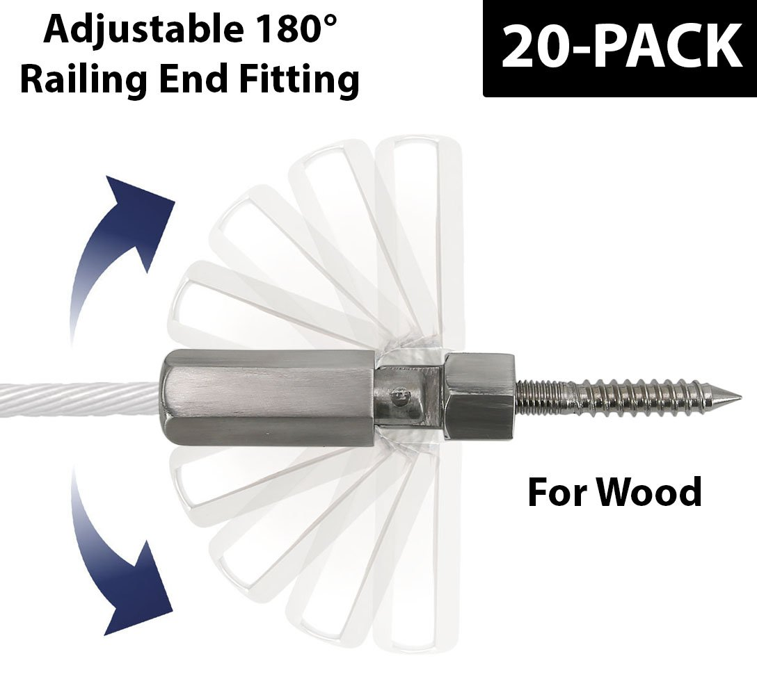 Stainless Steel 316 3/16''(5mm) Adjustable Cable Railing Terminal Tension End fitting for Wood Post in Stair Railing System (Satin Finish, 20-Pack)