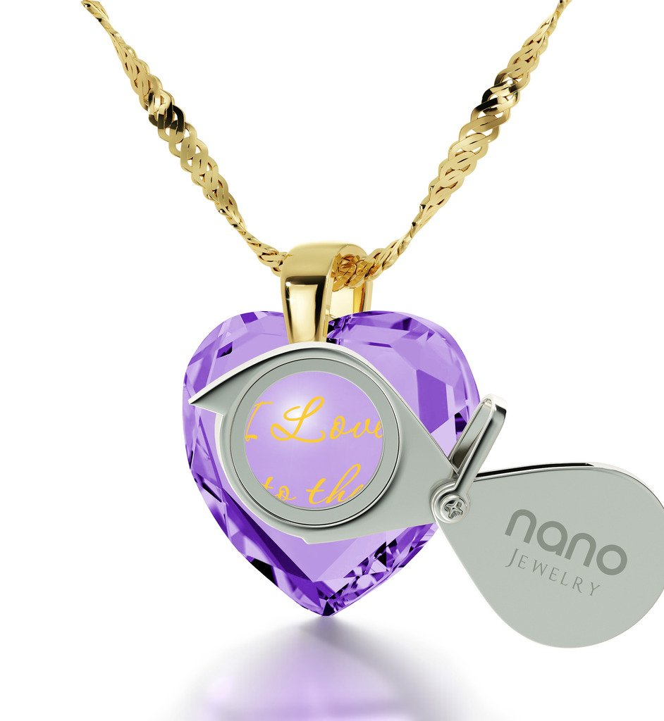 Gold Plated Heart Necklace I Love You to The Moon and Back Pendant 24k Gold Purple Cubic Zirconia, 18'' by Nano Jewelry (Image #2)