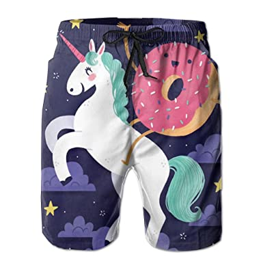 1b2bd439e6eee Unicorn Donut And Rainbow Men's Swim Trunks Quick Dry Board Beach Shorts  Home Wear | Amazon.com
