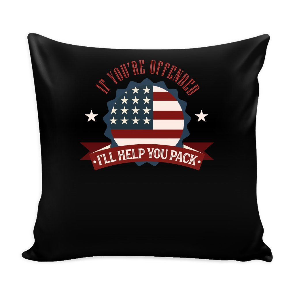 Patriotic 16 x 16 Pillow Cover with Insert - I'll Help You Pack, America Flag