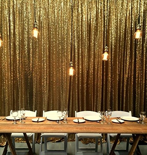 - B-Cool 4ftx8ft Sequin Backdrop Gold Photography Backdrop Wedding Shimmer Holiday Fabric Backdrops Curtain backdrops Photography Background DIY Sequin Backdrop