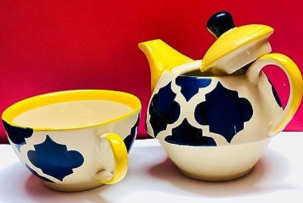 Hindustani Saudagar Hand Painted Ceramic Microwave Safe Single Tea Pot Kettle Set, 250ml( Blue and yellow)