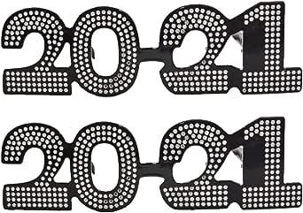 PRETYZOOM 2021 Eyeglasses Glitter Funny Glitter Eyewear New Year's Eve Party Glasses for 2021 ...