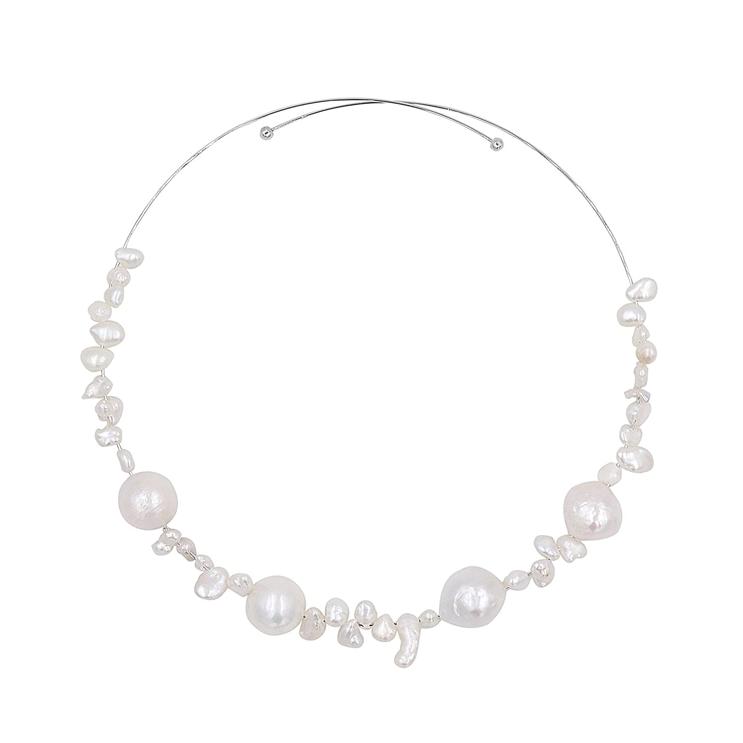 Lee Lee N214Z-Baroque Pearl Beauty Elastic Choker Necklace Birthday Gift Designer Jewelry Silver
