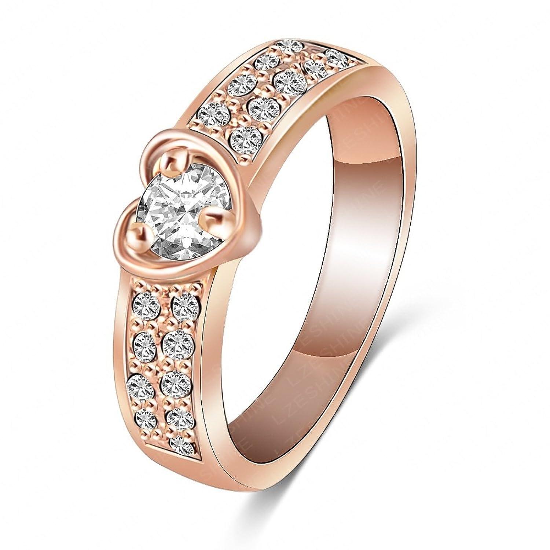 AnaZoz Schmuck Ring Romantische 18K Rose Gold überzog mit Herz