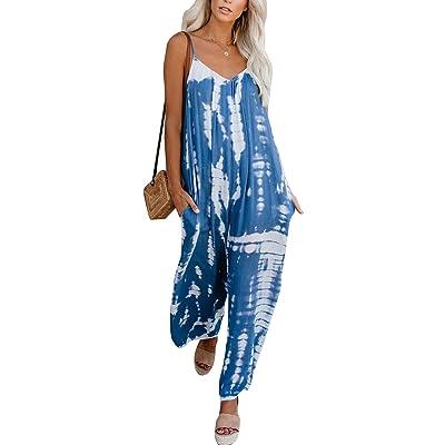 ACHIOOWA Pantalones de Peto para Mujer Baggy Pantalón Jumpsuit de Color Tirantes Largo Harem Talla Grande Casual Moda Fiesta C58909-02 S: Ropa y accesorios