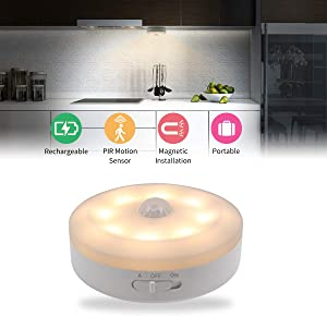 Closet Light Motion Activated USB Rechargeable LED Under Cabinet Lighting Ultra Bright Warm White Safe Light Magnet Stick-on Bedside Counter Drawer Bookcase Wardrobe Stairs Kitchen Hallway (1 Pack)