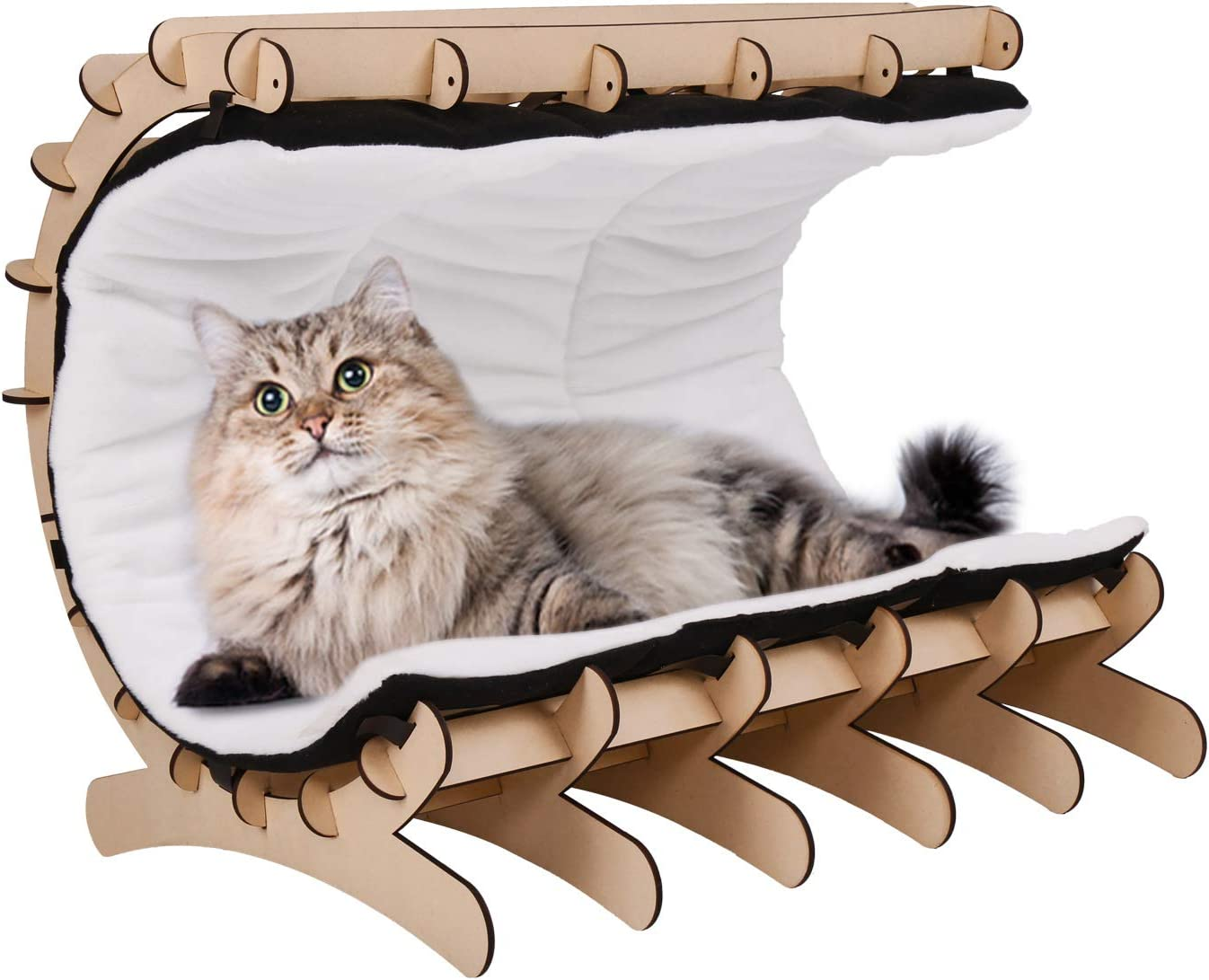 Peachtree Press Inc Cat Bed Cat Hammock Wooden Cat Castle Cat House Furniture with Washable Cushion Pet Scratching Posts Cat Cave with Toys