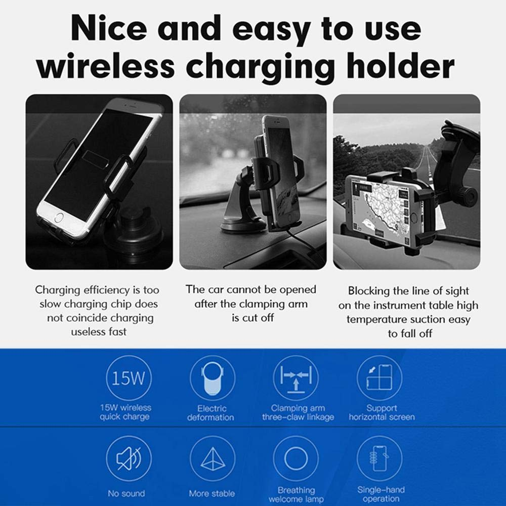 Samsung S10// S9// S8 More Tenso 2-in-1 15W Fast Charging//Automatic Clamping Air Vent Phone Holder Compatible with iPhone X//XS// 8 Plus//XR// Qi Wireless Car Charger Mount