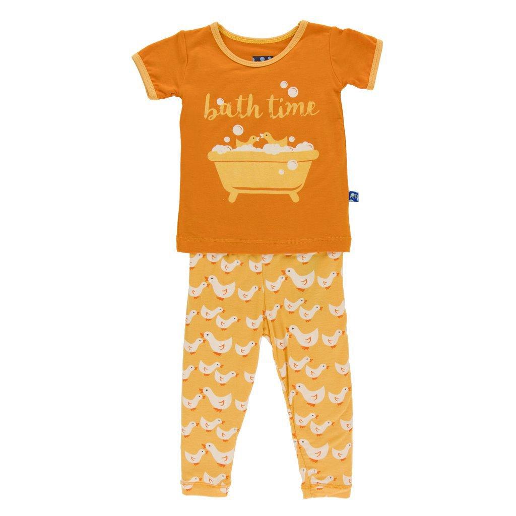 KicKee Pants Print Short Sleeve Pajama Set Fuzzy Bee Ducks (12 - 18 Months`) by Kickee Pants