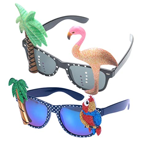 Toyvian 2 Pack Hawaiian Tropical Novelty Sunglasses Flamingo ...