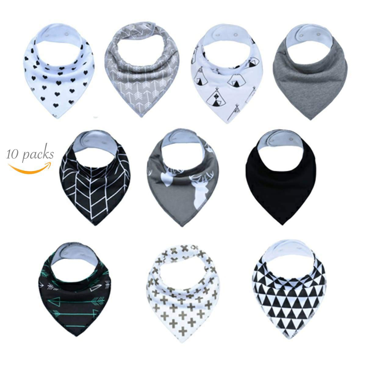 10 Packs Baby Bandana Drooling and Teething Bibs Premium 2 Layered Baby Bibs by Linckenzie Monochrome Series Yiwu Lydoo Industry Company