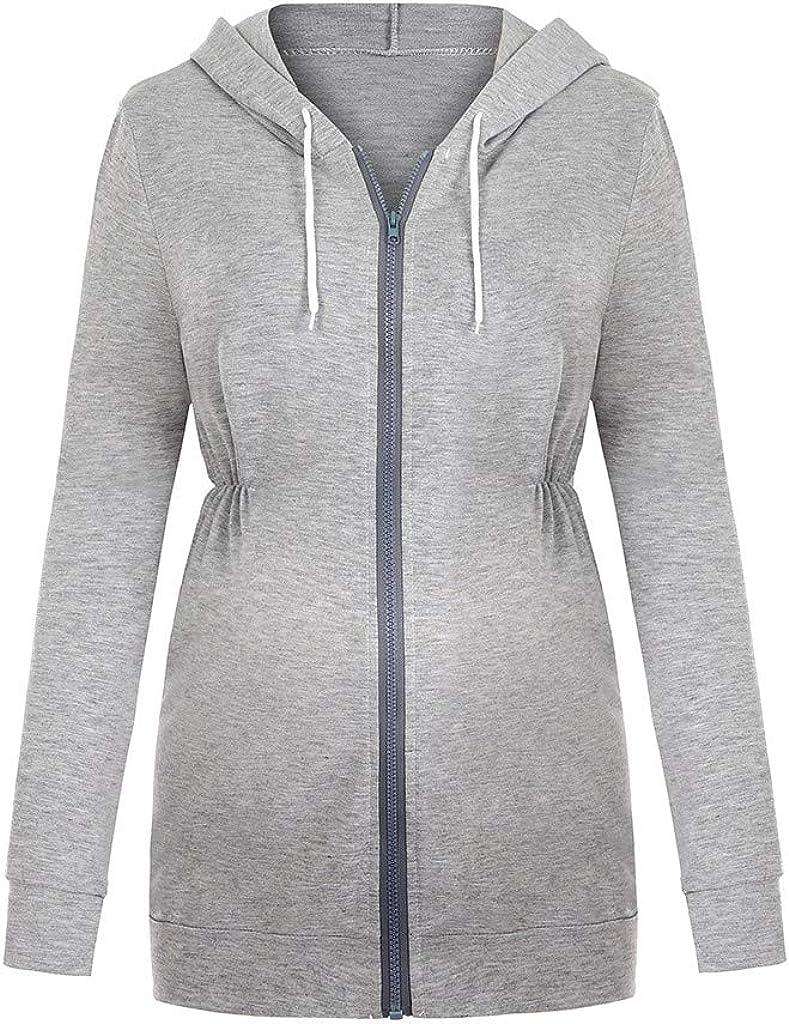 Pregnancy Clothes Winter Long Sleeve Solid Color Sweater Hooded Top Ladies Leisure XXYsm Womens Maternity Zipper Nursing Hoodie Sweatshirts Tops for Breastfeeding