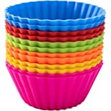 Pantry Elements Silicone Cupcake Liners/Baking Cups - 12 Vibrant Muffin Molds
