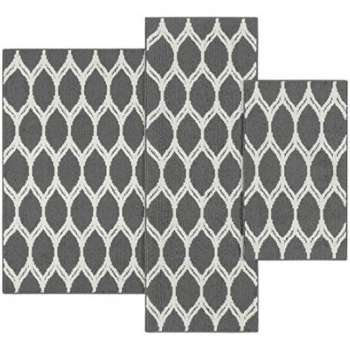 Mainstays Sheridan Ogee 3-piece Accent Rug Set (Gray) (8 Piece Patio Set Cheap)