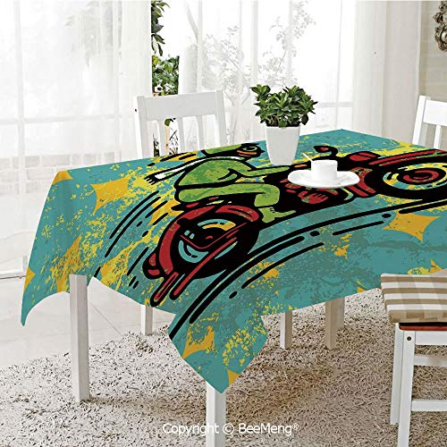 BeeMeng Spring and Easter Dinner Tablecloth,Kitchen Table Decoration,Motorcycle,A Young Man Vintage Motorbike Grunge Distressed Dirty Featured Funky Art Illustration,Multi,59 x 83 inches