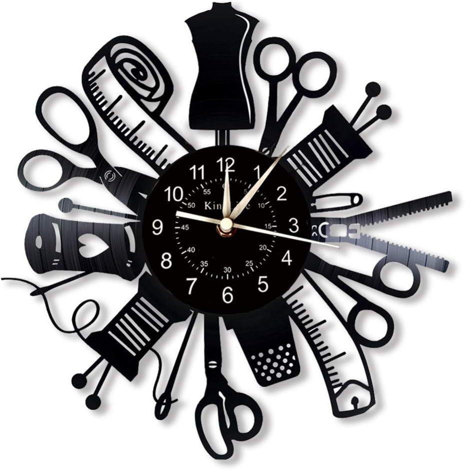 wwwff Máquina de Coser Vinyl Record Reloj de Pared Decoración ...