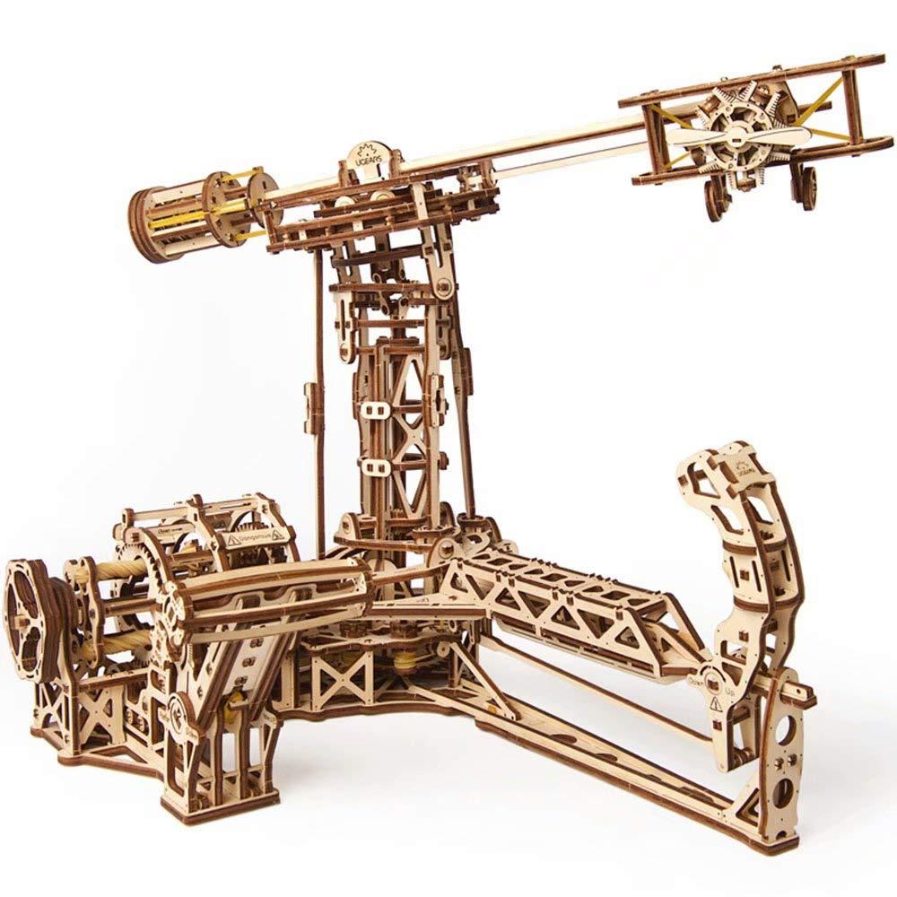 UGEARS - Modellbau-Hubschrauber aus Holz mit mechanischem Getriebe - dreidimensionaler Puzzle-Spielzeugpilot