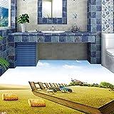 LHDLily 3D Bathroom Washroom Hotel Walkway Restaurant Floor Painting Lawn Waterproof Floor Mural 350cmX250cm