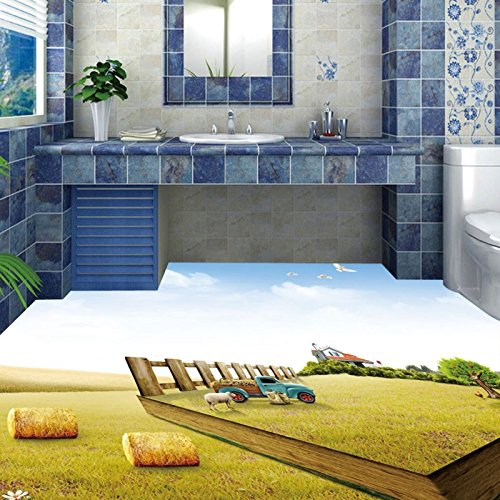 LHDLily 3D Bathroom Washroom Hotel Walkway Restaurant Floor Painting Lawn Waterproof Floor Mural 350cmX250cm by LHDLily