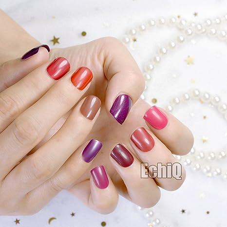 EchiQ - 240 uñas postizas con puntas cortas y cubiertas completas, uñas artificiales falsas,