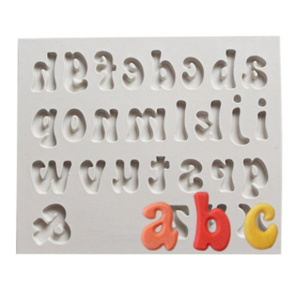 Gluckliy Alphabet Letter DIY Silicone Mold Chocolate Fondant Cake Decorating Tools Baking Moulds Supplies (Lower Case Letters) fangqiang