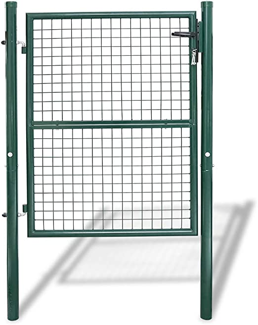 Hengda puerta de jardín Portal Simple asa de acero inoxidable bisagras galvanizadas y regulables Metal engrener valla rejilla metálica con cerradura malla metálica Kit completo para valla, 150 x 100cm Rond Vert: