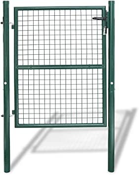 Puerta de Jardin de Malla de Metal Malla Bisagras Galvanizadas y Ajustables Tubo de Acero con Cerradura Valla Φ5mm Verde Redonda 150 x 100cm: Amazon.es: Jardín