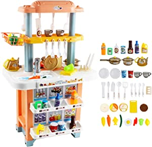 deAO My Happy Little Chef Kitchen Playset for Kids Toddler Pentend Food with Light Sound Over 40 Accessories Gift for Girls Boys