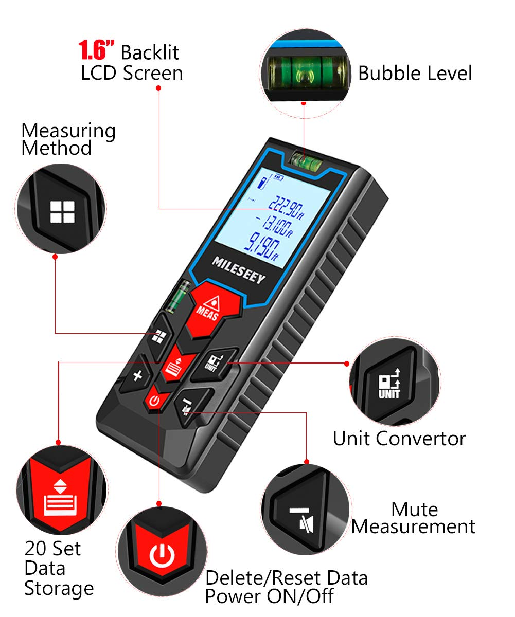 MiLESEEY Laser Measure (S2)328ft M/Ft/in Digital Distance Meter Backlit LCD wtih Mute Function, Measure Distance, Area and Volume, Pythagorean Mode Laser Measuring Device with 2 Bubble Level
