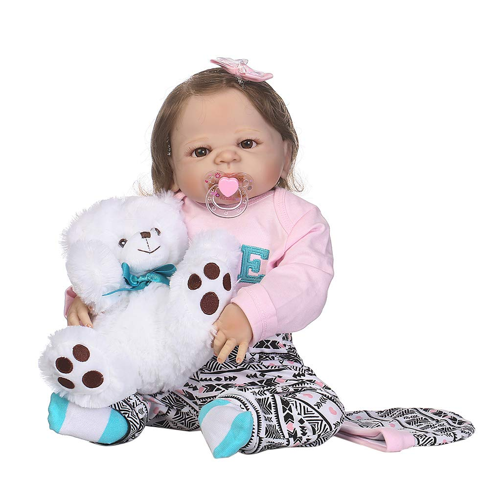 LyGuy Handmade Lifelike Silicone Doll, Pink Clothes White Bear Hat Bow Hair Clip Perfect Birthday Doll 22 inch