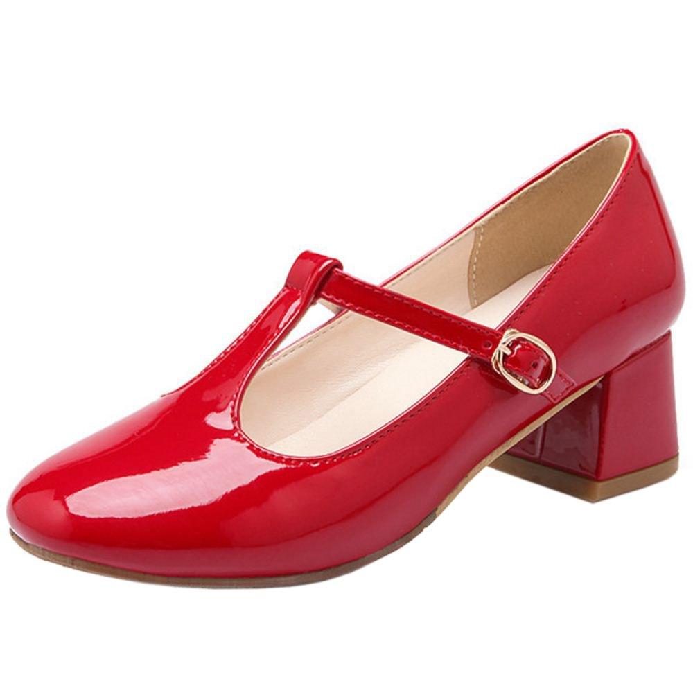 Zanpa Ladies Sweet Mary Janes T Strap  Red