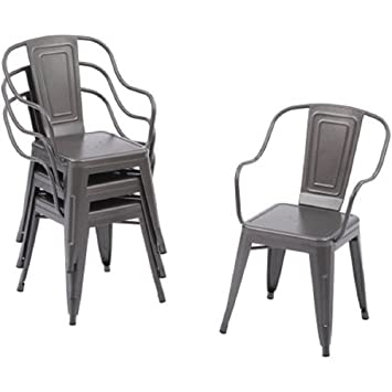 Better Homes And Gardens Camrose Farmhouse Industrial Chairs (Set Of 4) ( Galvanized Grey