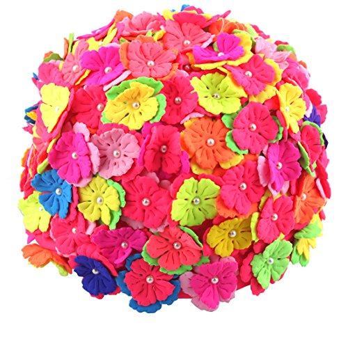 USANDY Fashion Handmade Sewing Pearl Three-Dimensional Petals Ear Cover Ladies Long Hair Flowers Swim Cap Waterproof Bathing Hat (pink) ()