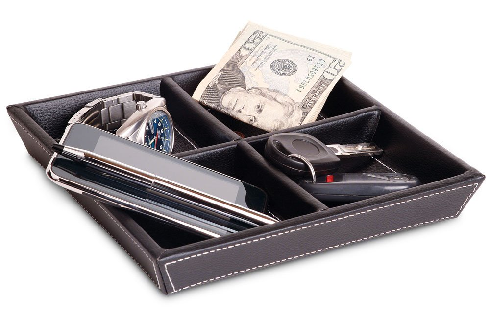 and Jewelry Keys Coins Profile Gifts Jeffrey 4 Compartment Valet Tray and Leatherette Organizer Box for Wallets